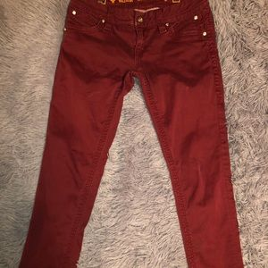 "Rock Revival Wine Color Skinny Jeans 29W Ins 30"""